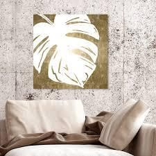 Oliver Gal  Tropical leaves Square IV Gold Metallic  Floral and Botanical Wall Art Canvas Print   Gold  White  Retail 119 99