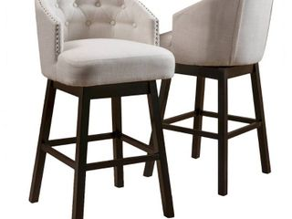 Ogden 35 inch Fabric Swivel Backed Barstool  Set of 2  by Christopher Knight Home  Retail 238 99 beige