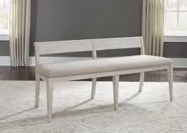 liberty furniture farmhouse reimagined antique white upholstered bench Dining Height Retail 465 49