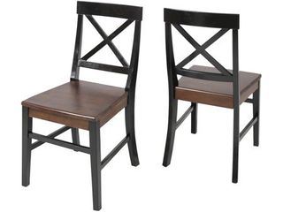 Roshan Farmhouse Acacia Wood Dining Chair  Set of 2  by Christopher Knight Home   Retail 149 00