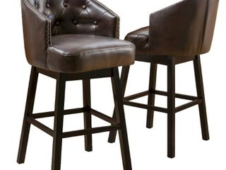 Ogden 31 inch Bonded leather Swivel Barstool  Set of 2  by Christopher Knight Home  Retail 289 99 brown