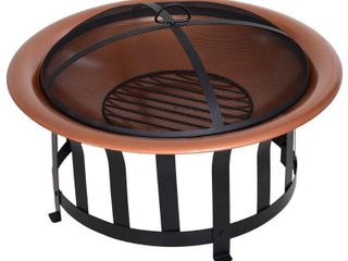 outsunny copper colored round metal wood fire pit bowl Brown  Retail 131 99