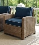 Bradenton Outdoor Arm Chair with Navy Cushion 1 only weathered brown