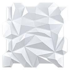art3d wall panels pvc jagged diamond design 32 sq ft Matte White  Retail 78 48
