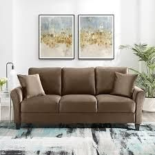 tiibesigns modern 3 seater velvet sofa Brown  Retail 519 49