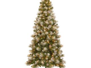 Snoey Green 7 and half snow capped mountain slim pine tree with clear lights Retail 270 99