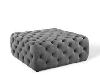 Anthem Tufted Button large Square Performance Velvet Ottoman stool in Gray
