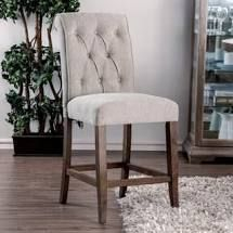 Sheila Contemporary Button Tufted Chenille Counter Height Chair  Set of 2