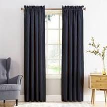 Sun Zero Ren Room Darkening Rod Pocket Curtain Panel Pair  54x84