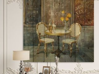 Designart  French Cafe  Traditional Print on Natural Pine Wood   Brown
