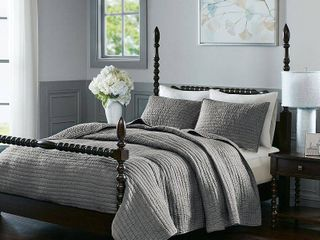 Madison Park Signature Serene Grey Cotton Hand Quilted Coverlet Set   King