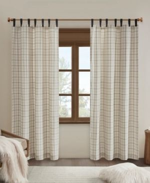 Madison Park Salford Plaid Faux leather Tab Top Single Curtain Panel with Fleece lining  2 panels