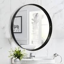 Round Art Wall Mirror Metal Frame for Entryways Washrooms living Rooms Decor