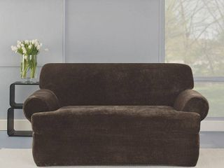 Sure Fit Stretch Plush Chocolate T Cushion loveseat Slipcover