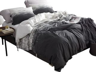 Ombre Nights Duvet Cover   Faded Black  Queen