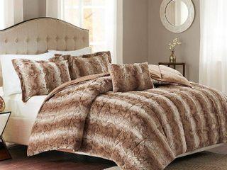 Home Essence Marselle Faux Fur Down Alternative Comforter Set  King