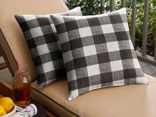 Humble   Haute Black Buffalo Plaid Indoor  Outdoor Square Pillow
