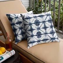 Sunbrella Indigo Geometric Indoor  Outdoor Square Pillow  Set of 2