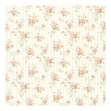 laurie Peach Floral Stripe Wallpaper   396in x 20 5in 0 25in  1 roll