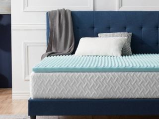 Twin   2 Inch  lUCID Comfort Collection Convoluted Gel Memory Foam Mattress Topper   Blue