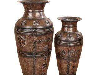 The Curated Nomad Merced Metal Carved Pair of Vases  Has some dents