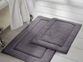 Charcoal  Modern Threads 2 Pack Solid loop With Non Slip Backing Bath Mat Set