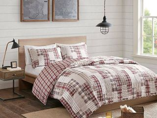 Madison Park Pine Red  Beige 3 Piece Reversible Printed Coverlet Set