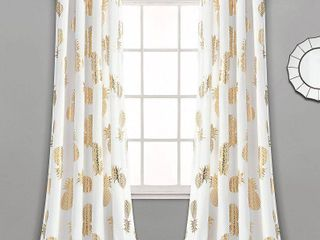95 Inches   Gold  lush Decor Pineapple Toss Window Curtain Panel Pair