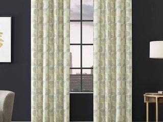 Ecru   50 x 96  Scott living Drake Mid Century Geometric Semi Sheer Grommet Curtain Panel