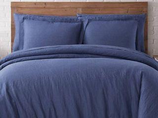 Navy   King  Brooklyn loom Natural Flax linen 3 Piece Duvet Set