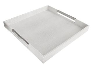 Tray White Gray with Silver Handles 18x18x2 H