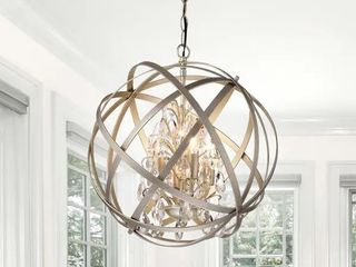 Benita Brushed Champagne Metal and Crystal Orb 4 light Chandelier Retail 138 49
