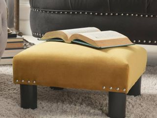 Rich Gold   Velvet  The Curated Nomad Stardust Square Accent Footstool Ottoman