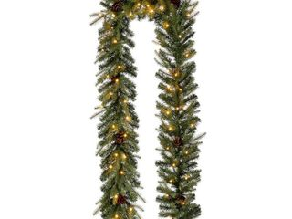 Glitzhome 9 l Pre lit Christmas Garland with Warm White lED light