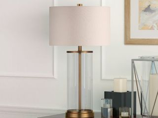 Reeves Cylindrical Clear Glass   Antique Brass Table lamp with linen Shade Retail 83 98