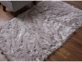 Silver Orchid Parrott Faux Fur Sheepskin Area Rug Retail 109 99