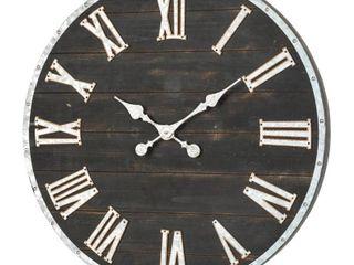 Multi  Glitzhome 27 56 D Oversized Farmhouse Wooden and Galvanized Wall Clock Retail 105 99