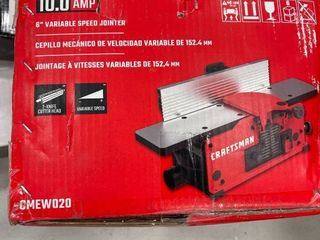 Craftsman Cmew020 10 Amp 6  Variable Speed Benchtop Jointer Dual Cutter Head  tested works