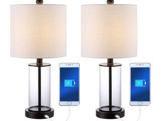 JONATHAN Y Abner 21 in  Oil Rubbed Bronze Glass Modern Contemporary USB Charging lED Table lamp
