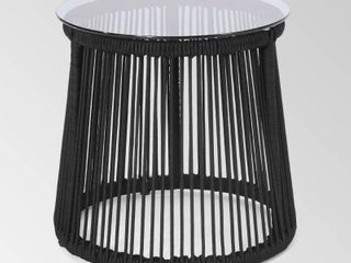 Moonstone Modern Outdoor Rope Weave Side Table with Tempered Glass Top by Christopher Knight Home Retail 95 99
