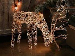 Alpine corporation rattan reindeer with lights