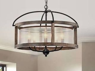 The Gray Barn Mentmore Antique Black Metal Fabric Drum Shade Wood Frame Chandelier Retail 199 99