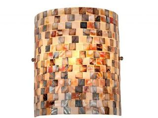 The Curated Nomad Del Paso Sea Shell Mosaic and Glass 1 light Wall Sconce