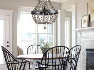 W16 1 x H25 4  The Gray Barn Orchard Slope 4 light Grey Wooden Bead Chandelier   W16 1 x H25 4  Retail 249 98