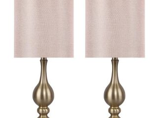 Gold Plated w  Blush Sparkly linen  20 5  Metal lamp Set w  Fancy Drum Shade  Set of 2