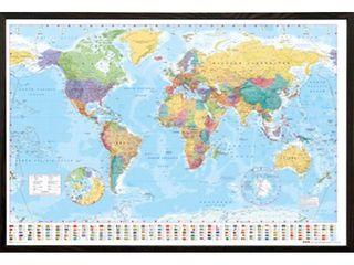 Framed World Map 24x36  Plastic pane is bubbled