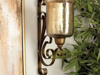 Decmode Traditional 20 Inch Metal Wall Mounted Hurricane Candle Sconce  Missing glass