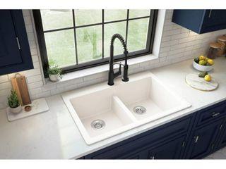 Karran Top Mount Double Equal Bowl Quartz Kitchen Sink   33  x 22  x 9    33  x 22  x 9   has a crack