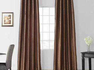 Exclusive Fabrics Faux Silk Taffeta 120 inch Blackout Curtain Panel   50 x 120   Mushroom color