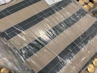 18x40 Sunbrella Black and Beige Striped Bench Cushion